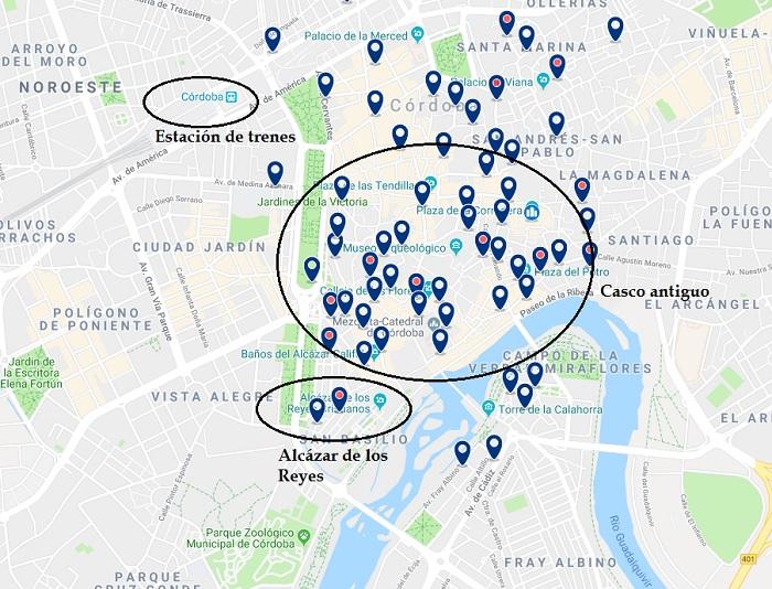 donde dormir en Córdoba - zonas